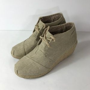 Corkys 9 Canvas Wedge Bootie Shoes Lace Up